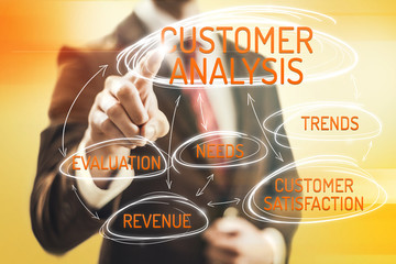 Customer analysis concept man pointing selection