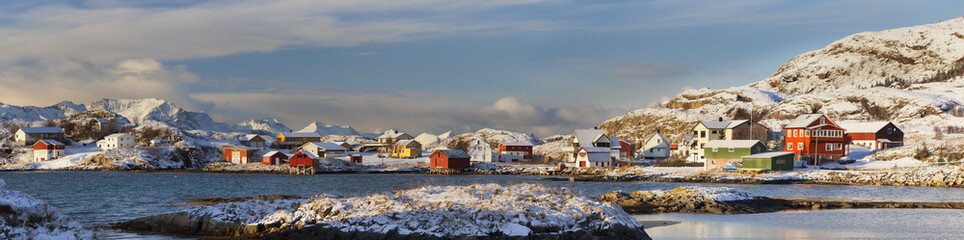 Panoramic view of Sommaroy in Norway, above the Arctic Circle.