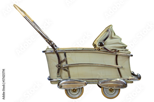 Retro baby pram isolated on white