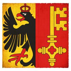 Grunge-Flagge Genf (Schweiz)