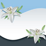 Greeting or invitation card with 3d flower lily