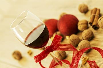 Red Wine and Christmas Food
