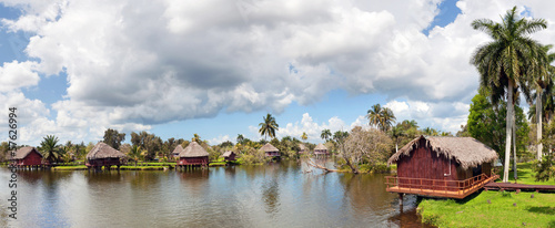 Cuban village on the river, panorama