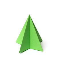 Origami Christmas tree isolated on white background