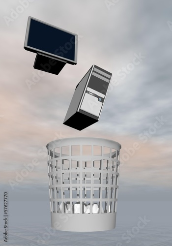 Computer to rubbish - 3D render