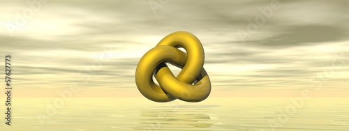 Golden shape - 3D render