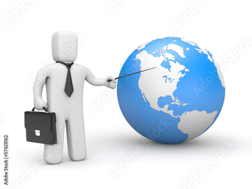 Businessman with pointer and globe