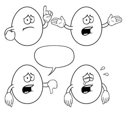 Black and white crying eggs with various gestures.
