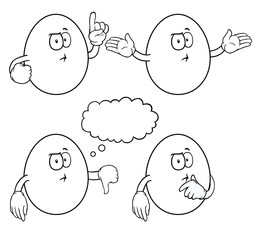 Black and white thinking eggs with various gestures.