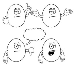 Black and white bored eggs with various gestures.