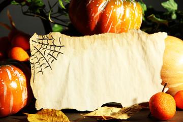 Halloween composition on dark grey  background