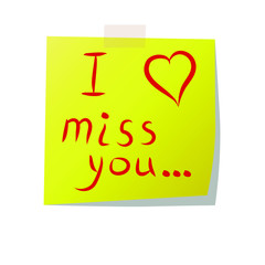 Stick note I miss you - Vector Illustration