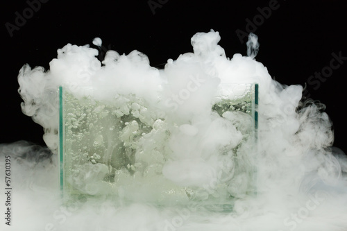 boiling dry ice with vapor