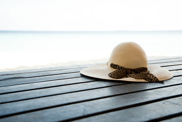 sun hat on decking