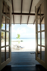 sea view through the doors