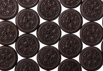 Oreo. Chocolate cookies with cream filling isolated. Background.