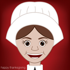 Thanksgiving Pilgrim woman character in vector format.