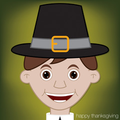 Thanksgiving Pilgrim man character in vector format.