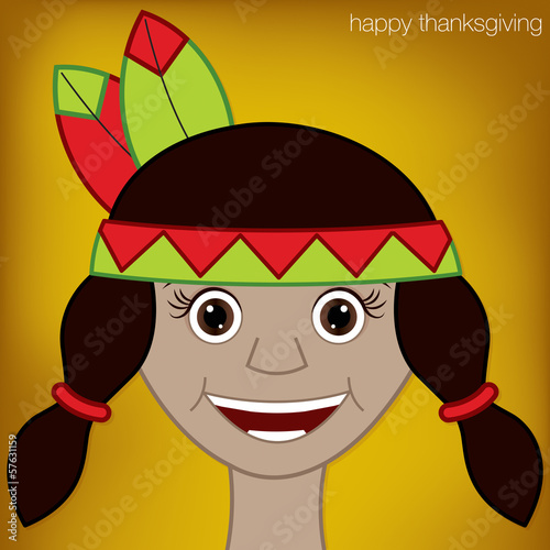 Thanksgiving American Indian woman character in vector format.