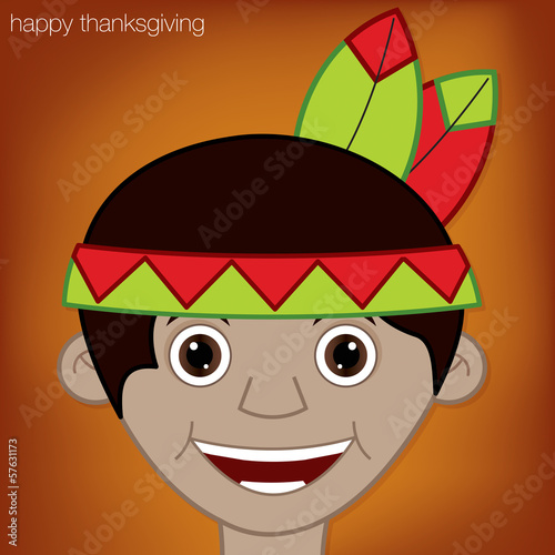 Thanksgiving American Indian man character in vector format.