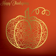 Filigree pumpkin Thanksgiving card in vector format.