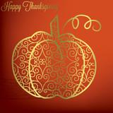 Filigree pumpkin Thanksgiving card in vector format. poster
