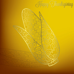 Filigree corn Thanksgiving card in vector format.