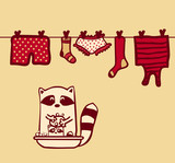 raccoon wash clothes and wash baby