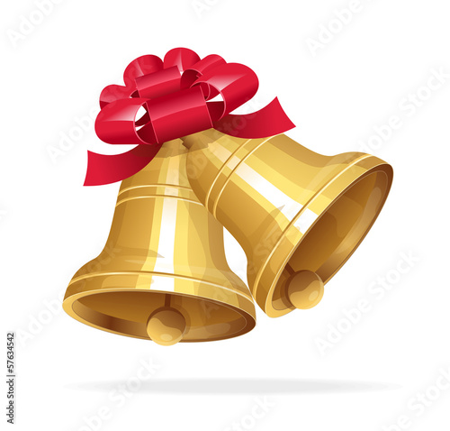 Jingle bells with red bow on white background