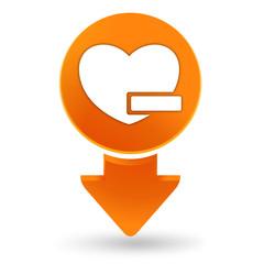 cœur moins sur signet orange