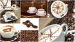 Coffee collage: different coffee creations