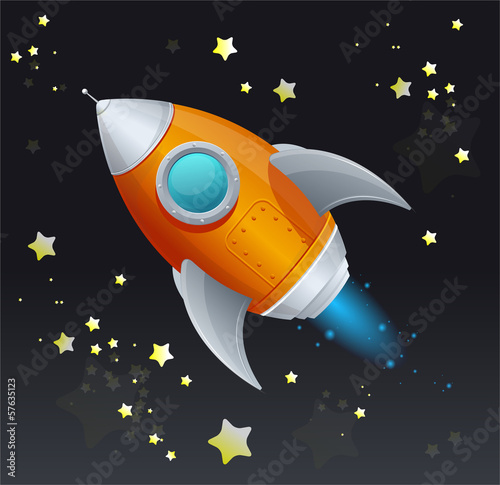 Comic cartoon rocket space ship