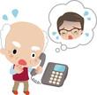 電話口でうろたえる高齢の男性