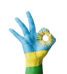 Hand making Ok sign, Rwanda flag painted