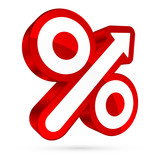 Percent Sign Arrow Up Right Back 3D Red