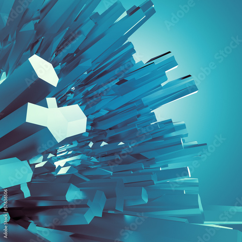3d blue crystal shapes, abstract arctic background