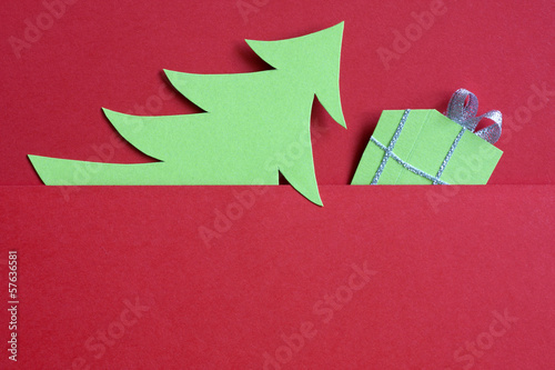 Christmas abstract paper tree on red background