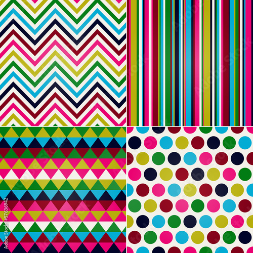 seamless stripes, zig zag and polka dots background © creative_stock