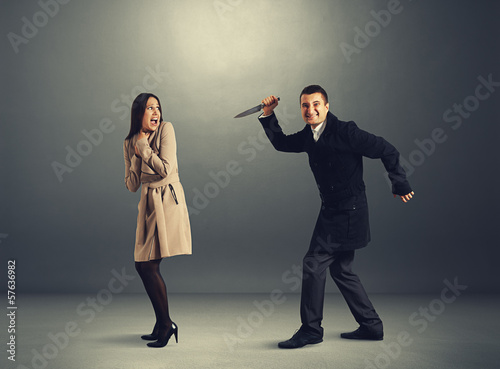woman and man with knife