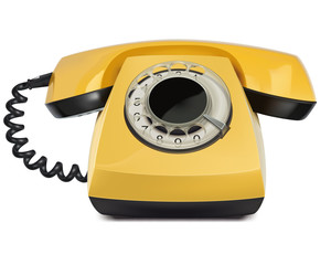 Telephone yellow, vintage, isolated. Vector Illustration