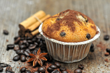 tasty muffin cakes with chocolate