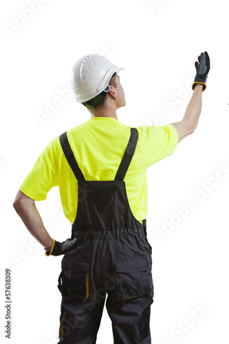 Construction worker presenting end product, isolated on white