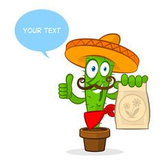 Cactus holds fertilizer package