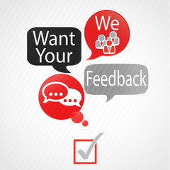 bulles rouge gris : we want your feeback (anglais)