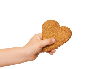 Child hand holding gingerbread