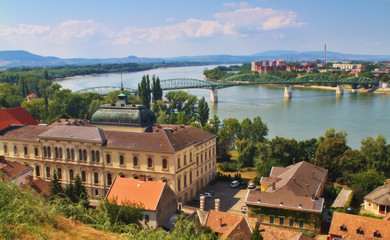 View of an Esztergom in Hungary and Sturovo in Slovakia