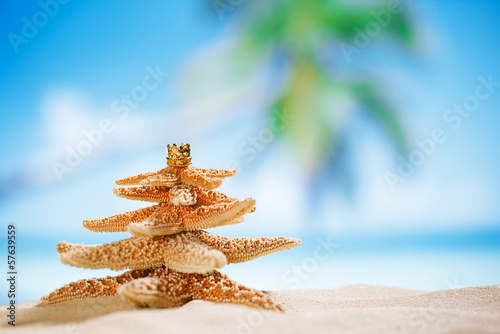 starfish christmas tree on beach with seascape background