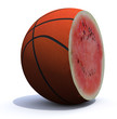 basket ball cut inside a watermelon