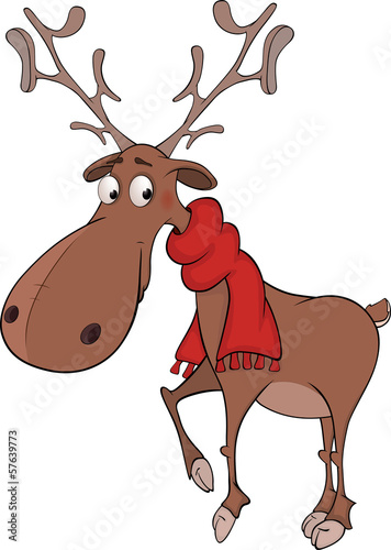 Christmas deer cartoon