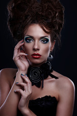 High fashion  portrait of gothic stylish woman with artistic vis